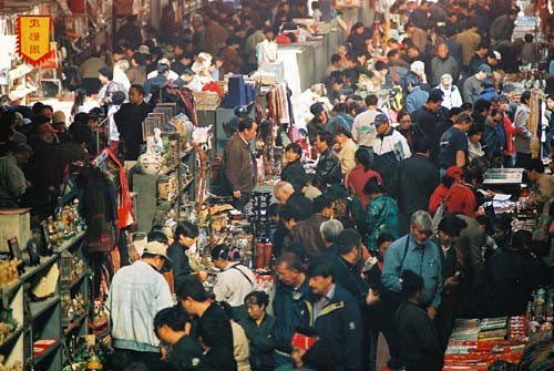 The endless sprawl of stalls and shops at Beijing's Panjiayuan Market